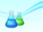 Abstract background with lab flasks with green and blue fluids a