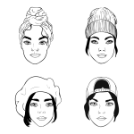 black and white portraits of girls with different headpieces