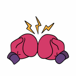 Boxing gloves punch cartoon art colored sketch sticker template