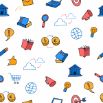 Cute colored doodle seamless pattern business