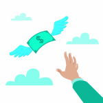 Flat style vector illustration of a hand reaching for paper mone