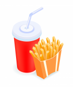 Isometric vector illustration tasty French fries and cola