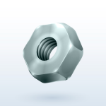 Metallic hex realistic hex nut isolated on a white background