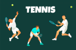 Vector background or illustration of male  lawn tennis players in action