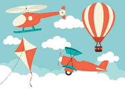 Banners with Hot Air Balloon and Kite | Clipart | The Arts | Image ...