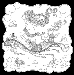 Line Artsy - Free adult coloring page - Flying Carpet (lined ...