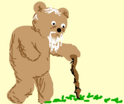 Grandpa Bear has a hard time walking. - drawing by Harry5219