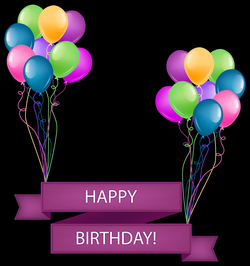 Happy Birthday Banner with Balloons Transparent PNG Clip Art Image ...