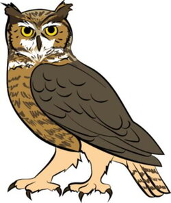 brown clipart great horned owl
