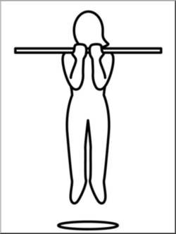 Clip Art: Simple Exercise: Chin-Ups B&W I abcteach.com | abcteach