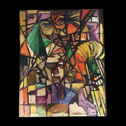 cubism drawing colorful
