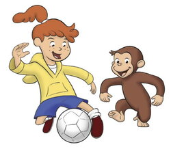curious george clipart walking