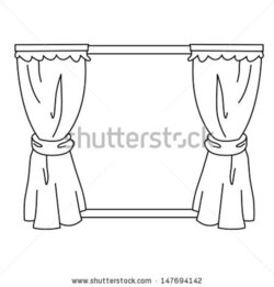 curtain clipart black and white