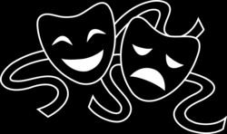Theater Masks Silhouette - Free Clip Art