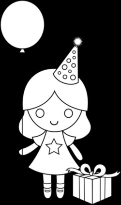 birthday drawing for kids | Birthday Girl Coloring Page - Free Clip ...