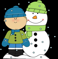 Boy and Snowman in the Snow Clip Art - Boy and Snowman in the Snow Image