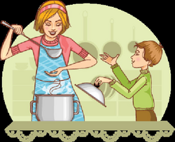 Mother and Son Tests Food in The Kitchen | Clipart | The Arts ...