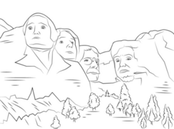 Celebrating Presidents Day At Mount Rushmore Coloring Page ... | 186x250
