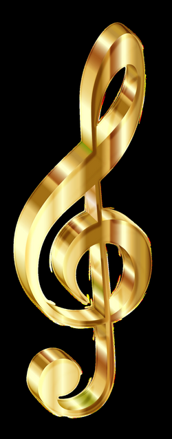Clipart - Gold 3D Clef Enhanced No Background