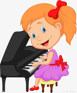piano clipart little girl