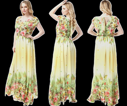 d92eeec2a092 UNOMATCH WOMEN PRINTED DECORATED BUST LONG PLEATED PLUS SIZE GOWN .