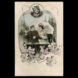 Antique Charles Scolik Postcard of Edwardian Couple in carriage ...