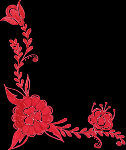 6 Red Flower Corner Ornament (PNG Transparent) Vol. 2 | OnlyGFX.com