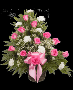 Memorial Table Basket with Roses, Pink   Royer's flowers and gifts ...