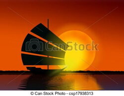 sail clipart sunset