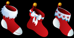 Beautiful Looking Christmas Stocking Clipart Transparent Three ...