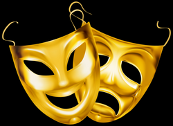 Gold Theater Masks PNG Clipart Image | Gallery Yopriceville - High ...