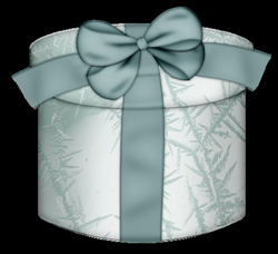 White Round Gift Box with Blue Bow Clipart | Gallery Yopriceville ...