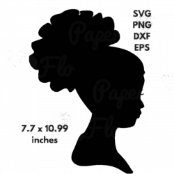 African Woman Silhouette SVG Clip Art Afro Puff Natural Curly Hair ...