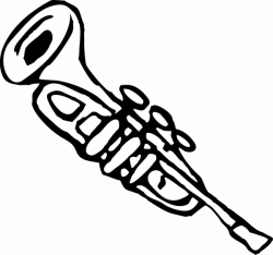 Trumpet 3 Black White Line Music Art Coloring Sheet Colouring Page ...