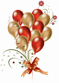 Transparent Red and Gold Balloons Clipart | Scrapbook Birthday/Party ...