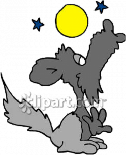 Cartoon Wolf Howling At the Moon - Royalty Free Clipart Picture